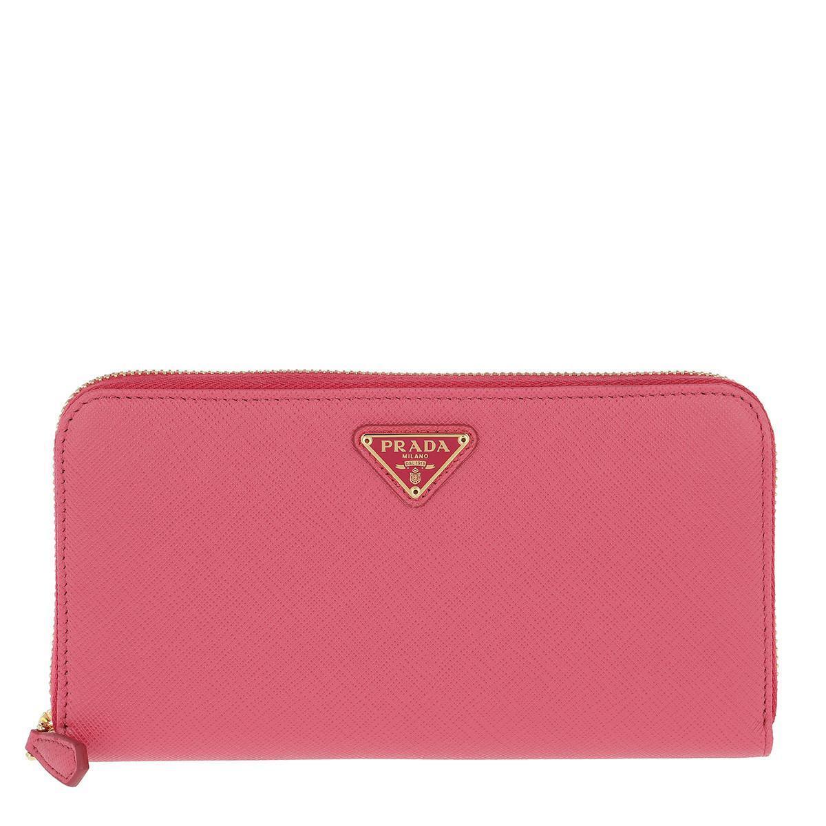 Wallets - Classic Zip Wallet Saffiano Leather Begonia - magenta - Wallets for ladies Prada uob7S