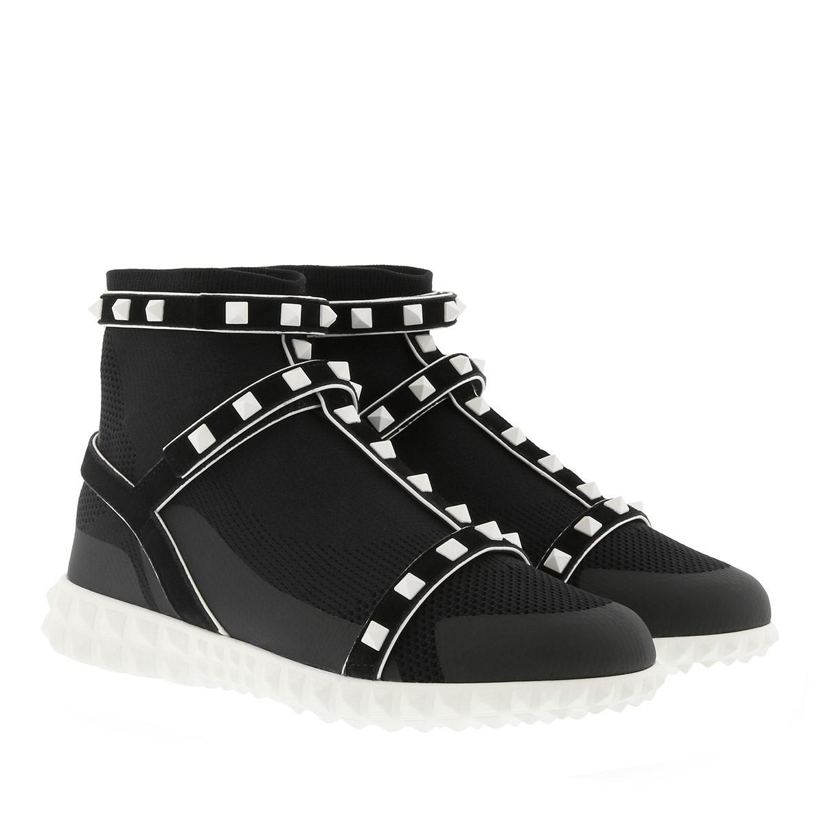 Rockstud Bodytech Hightop Sneakers in Black Nylon Valentino