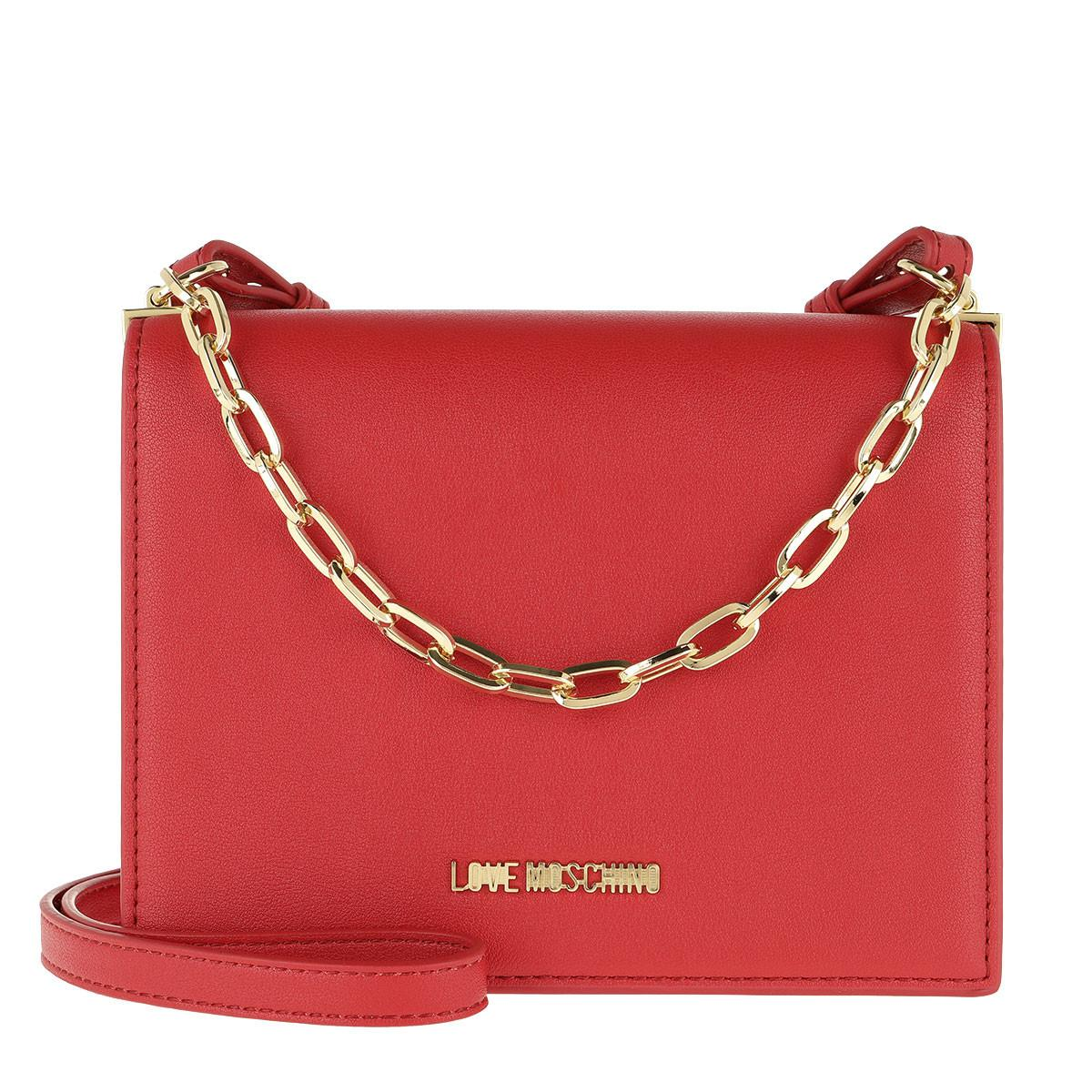 5c21f16ad9c9 Love Moschino Smooth Pu Chain Crossbody Bag Rosso in Red - Lyst