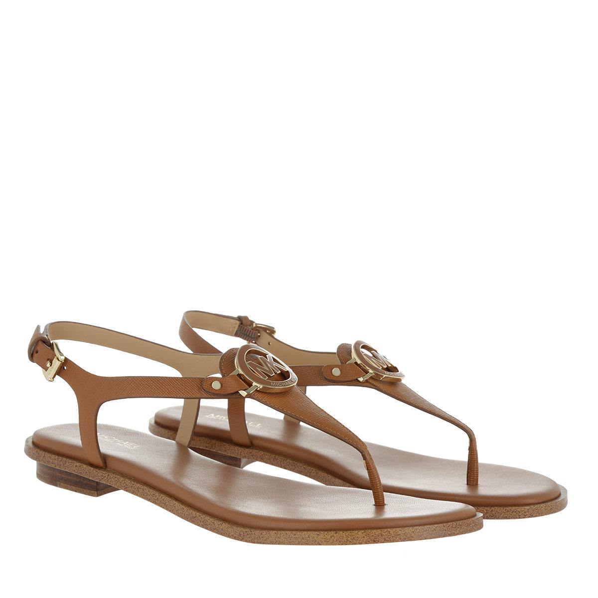 6fa4d021d Michael Kors Lee Thong Leather Sandal Acorn in Brown - Lyst