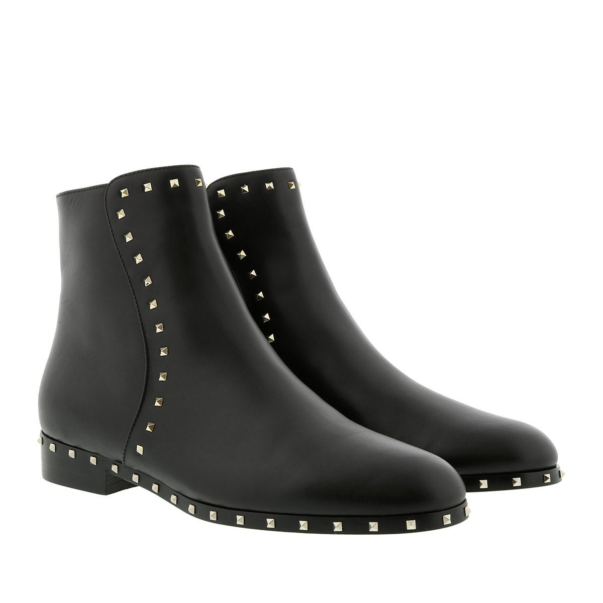 ec158f39f Valentino Rockstud Low Ankle Boots Leather Black in Black - Lyst