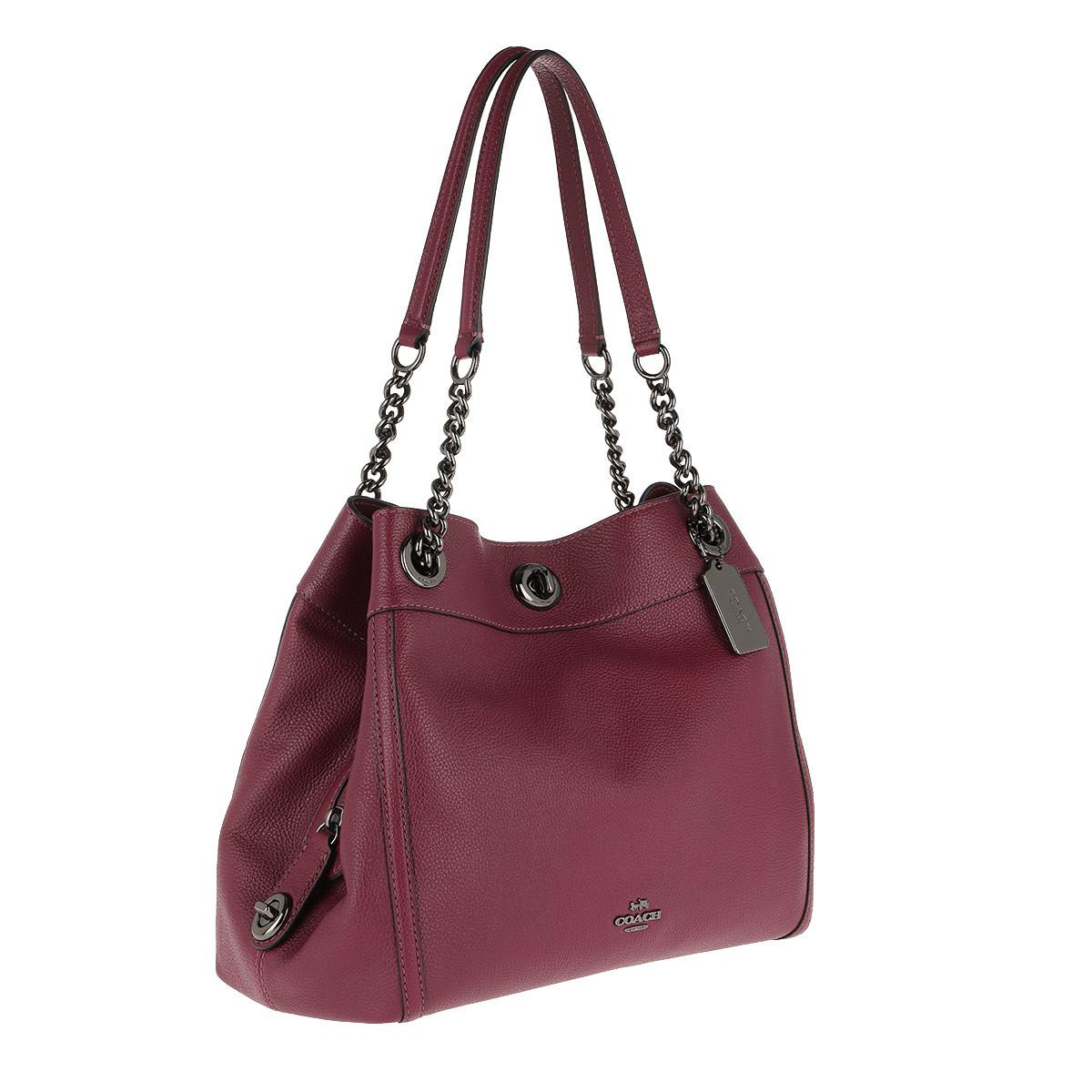 5513d19e5fe6 COACH - Red Polished Leather Turnlock Edie Shoulder Bag Dark Berry - Lyst.  View fullscreen