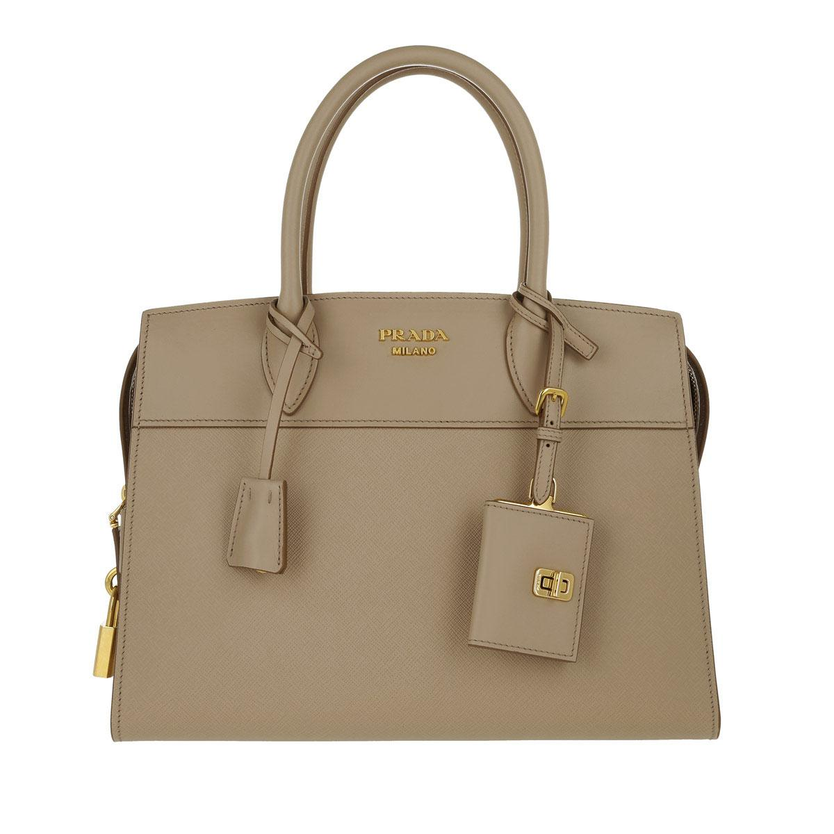 4db1a77b5acc Prada Esplanade Tote Bag Saffiano + City Calf Cameo in Natural - Lyst