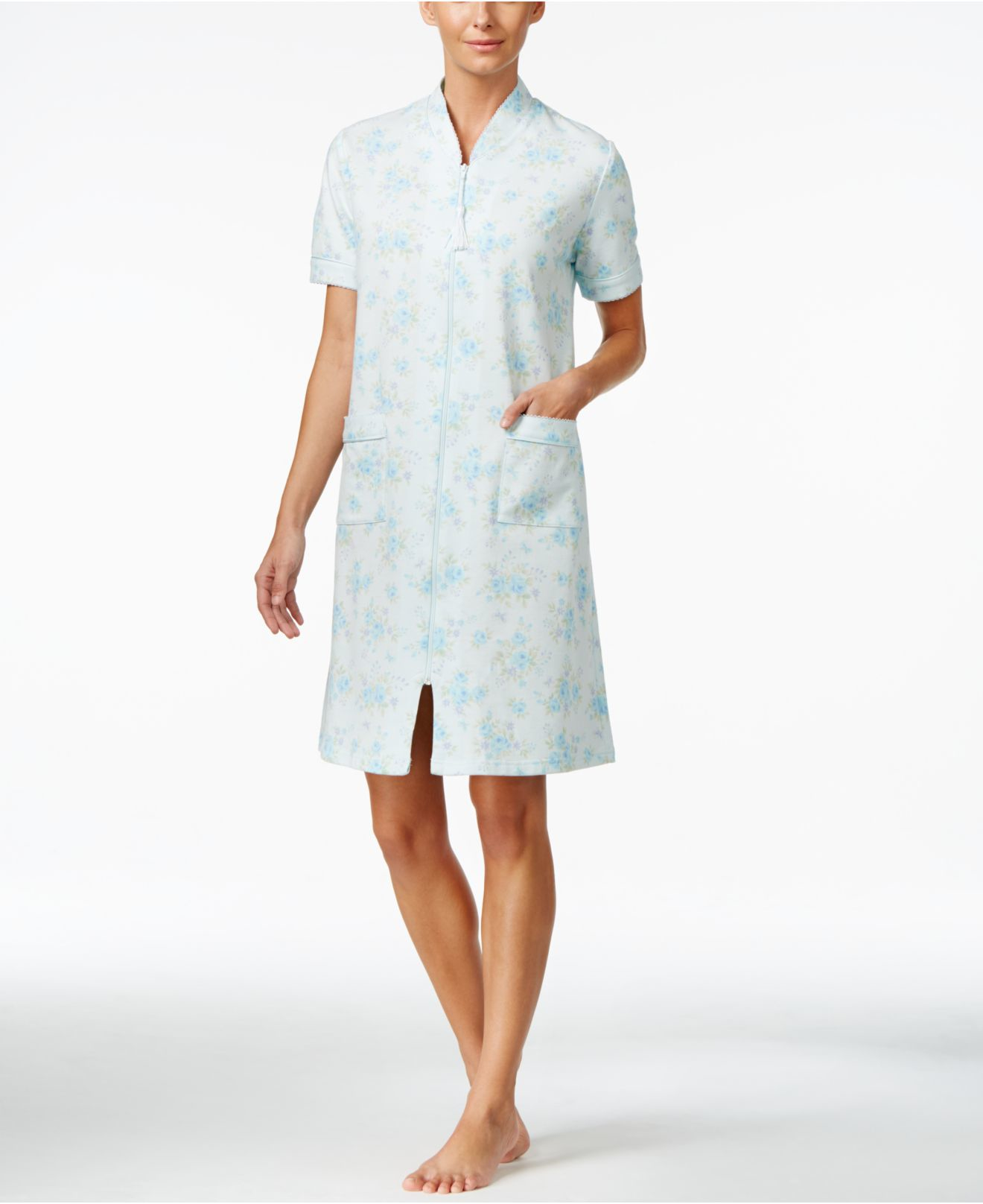 8042f64a2e Lyst - Miss Elaine Zip-up Floral-print Short Sleeve Robe in White
