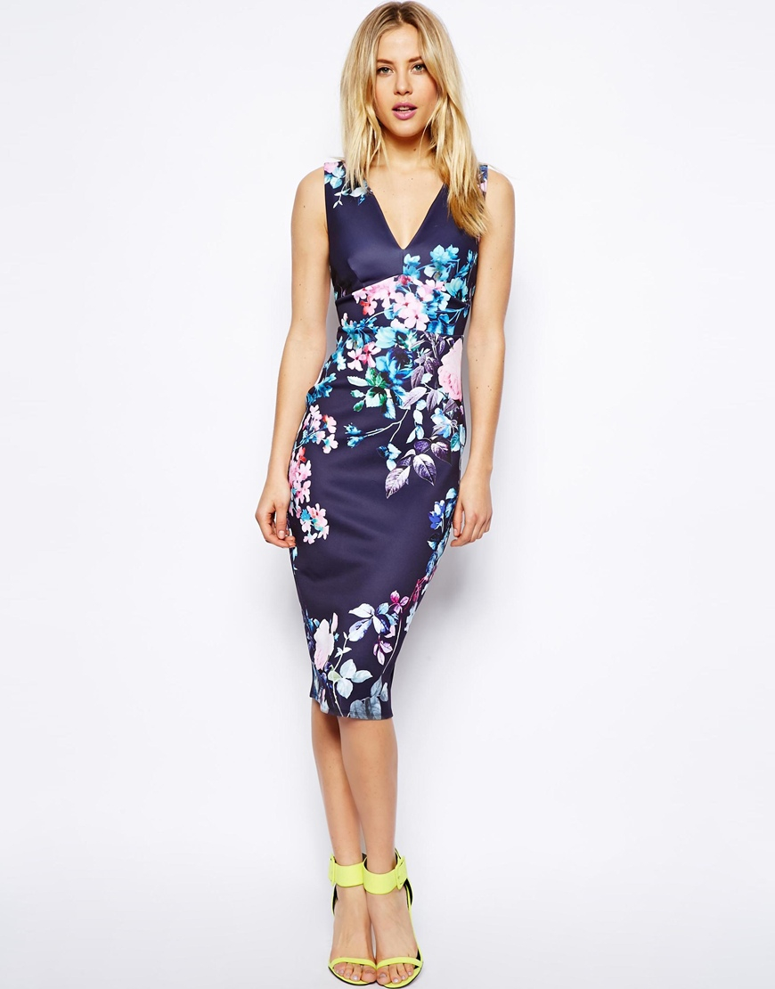Lyst asos pastel floral deep plunge dress in blue gallery ombrellifo Choice Image