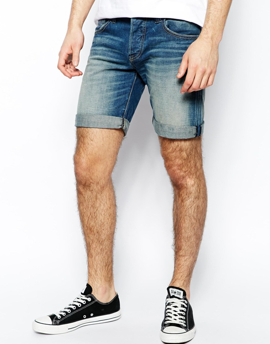 Lyst - Pepe Jeans Pepe Denim Shorts Cane Slim Fit Dirty Wash in Blue ... 381bca7c34d5