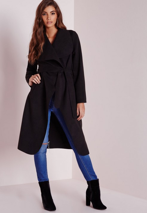 Missguided Waterfall Coat Long Length Black in Black | Lyst