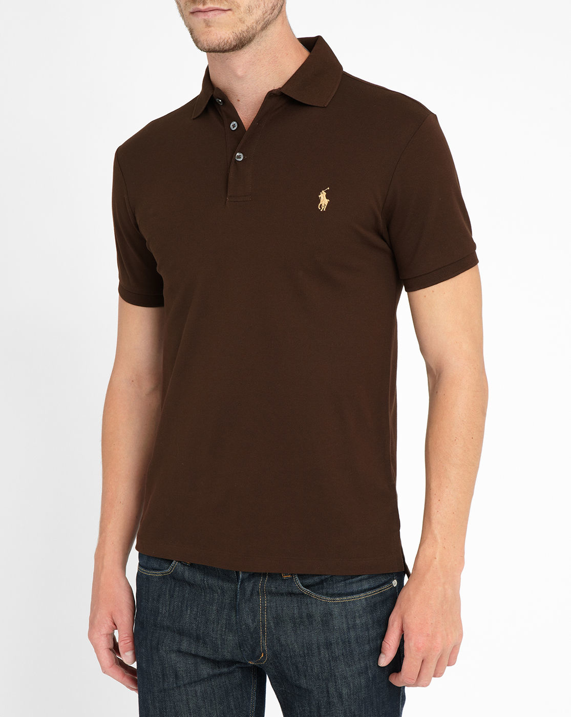 polo ralph lauren chocolate stretch polo shirt in brown for men chocolate lyst. Black Bedroom Furniture Sets. Home Design Ideas