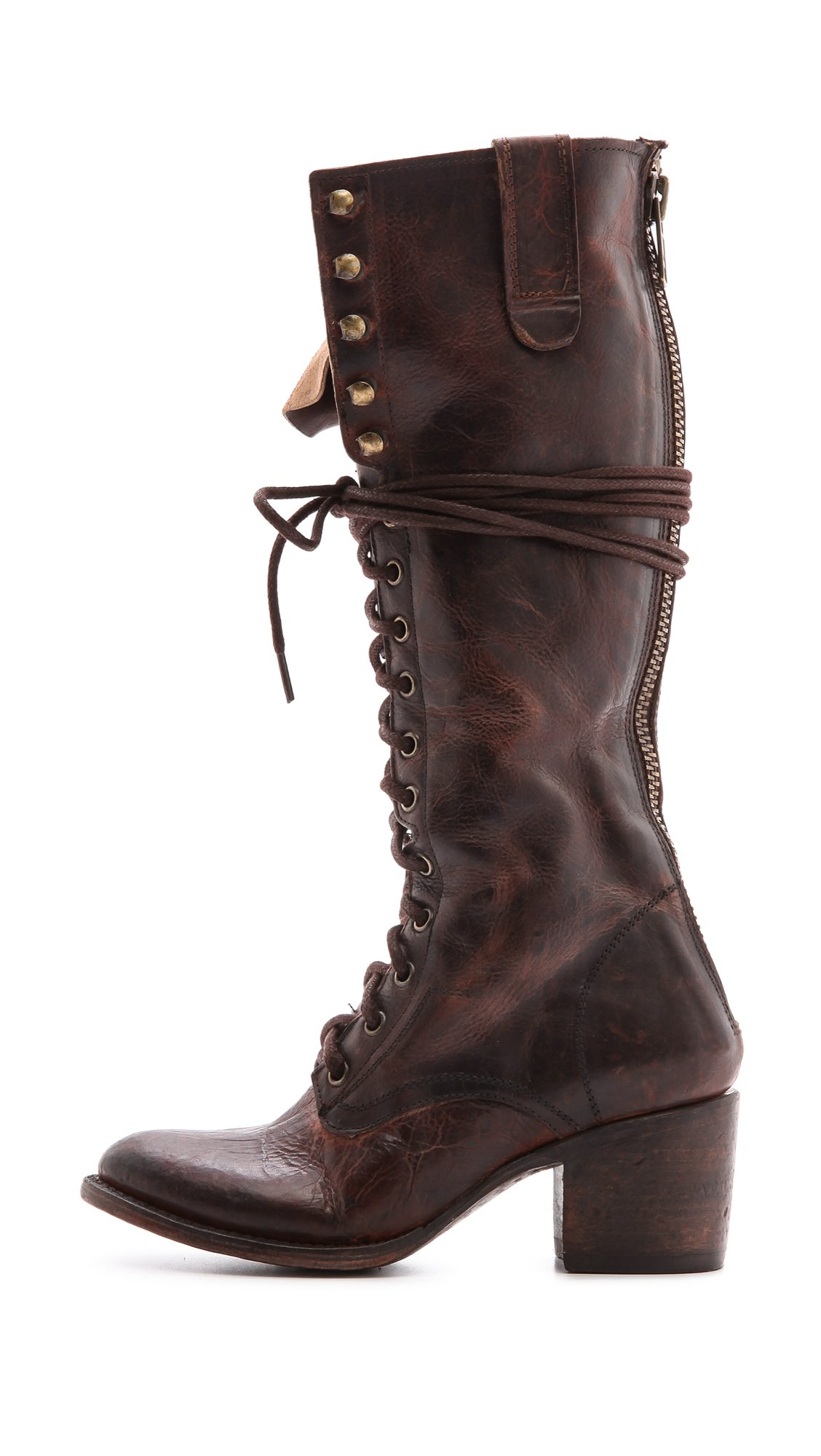 Freebird by steven Granny Tall Combat Boots - Black in Brown | Lyst