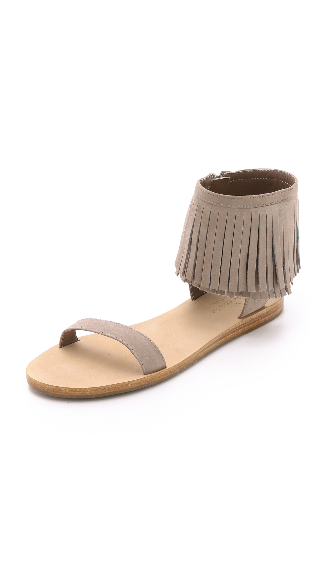 c54ad482019a Lyst - Kate Spade Alex Fringe Sandals - Cherry in Brown