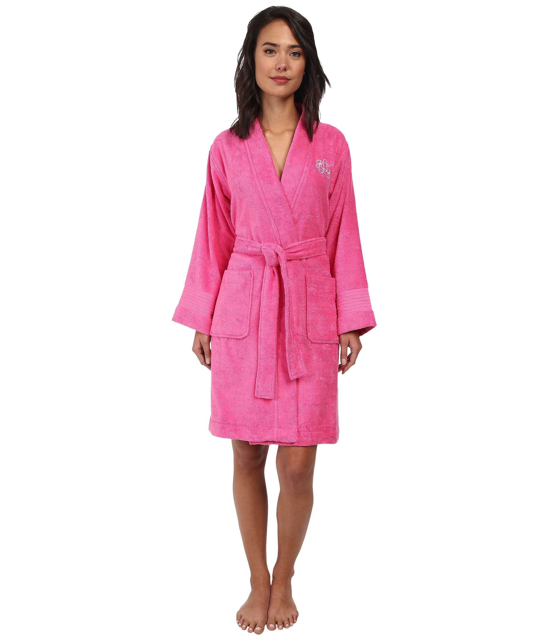 buying now good quality famous designer brand Lauren by Ralph Lauren Cotton Greenwich Woven Terry Robe in ...
