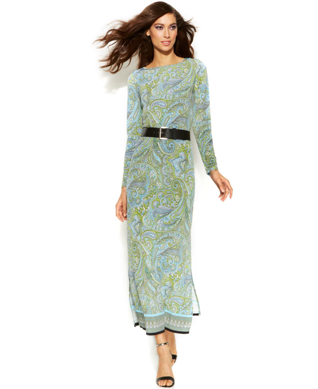 Belted maxi dress long sleeves