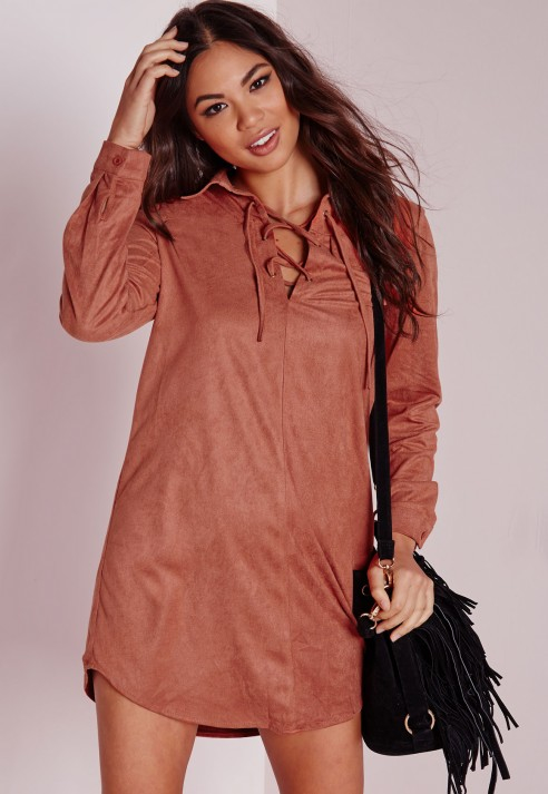 Lyst Missguided Faux Suede Lace Up Detail Shirt Dress