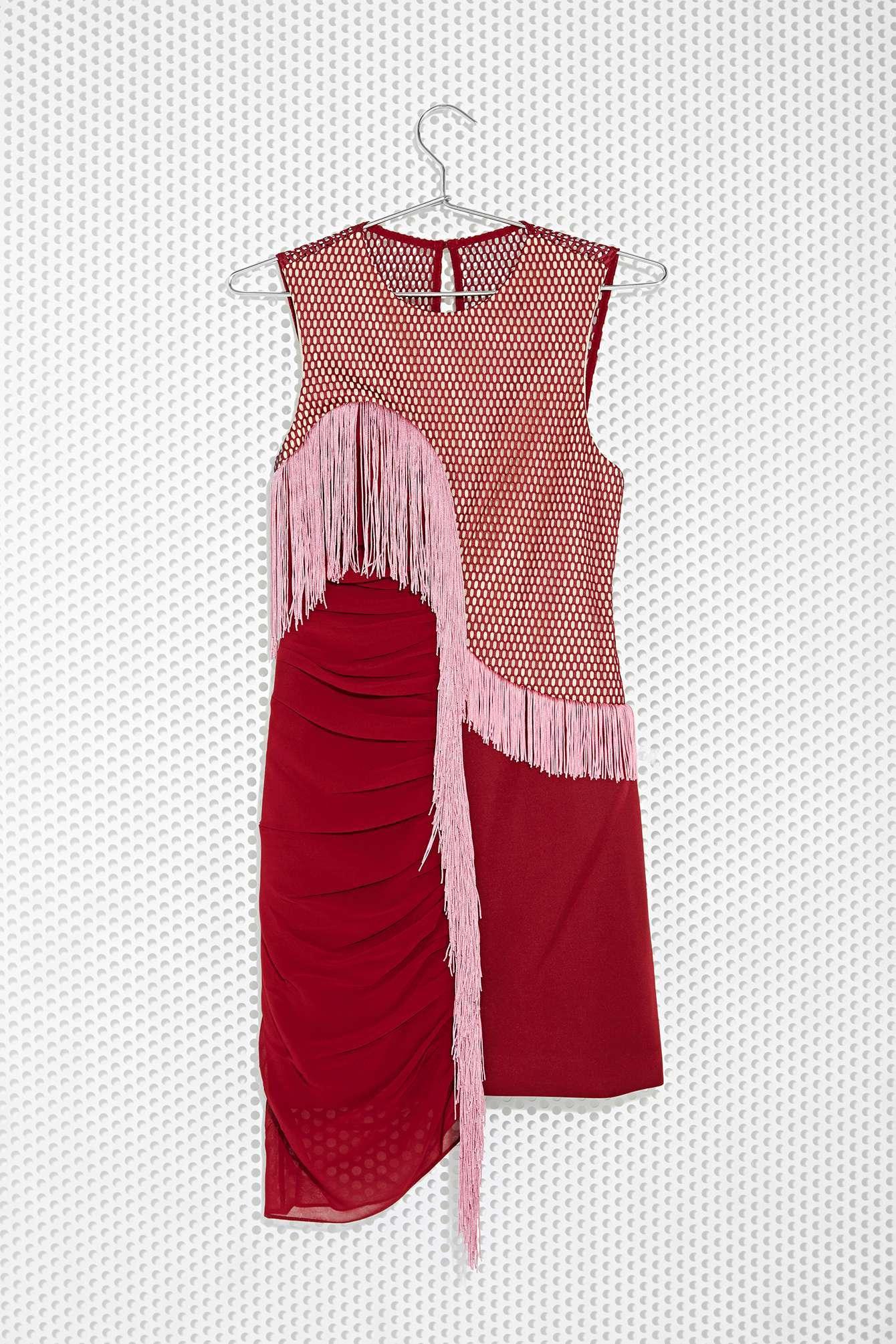 3 floor red dress shirt