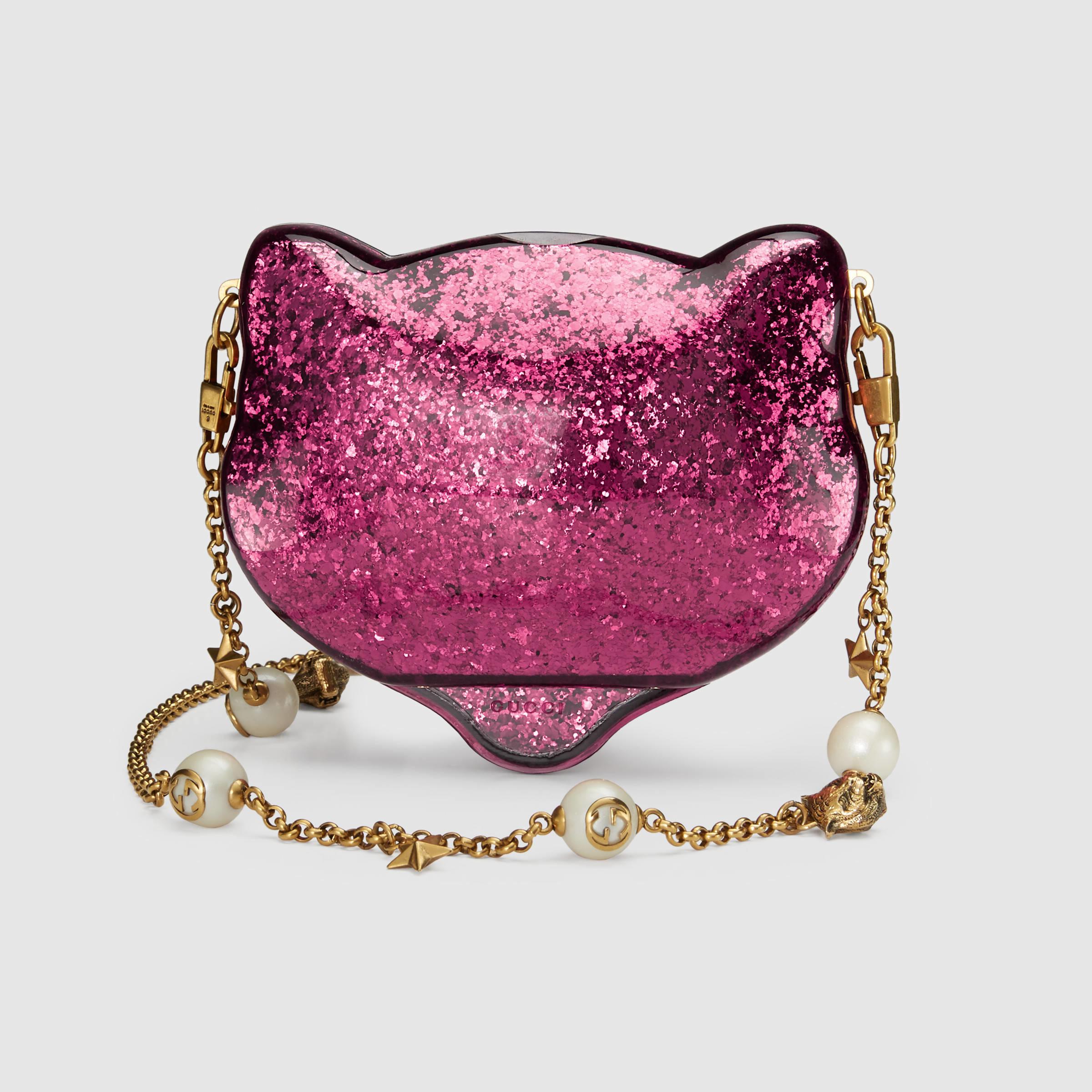 Gucci Glitter Plexiglass Cat Clutch In Pink Lyst