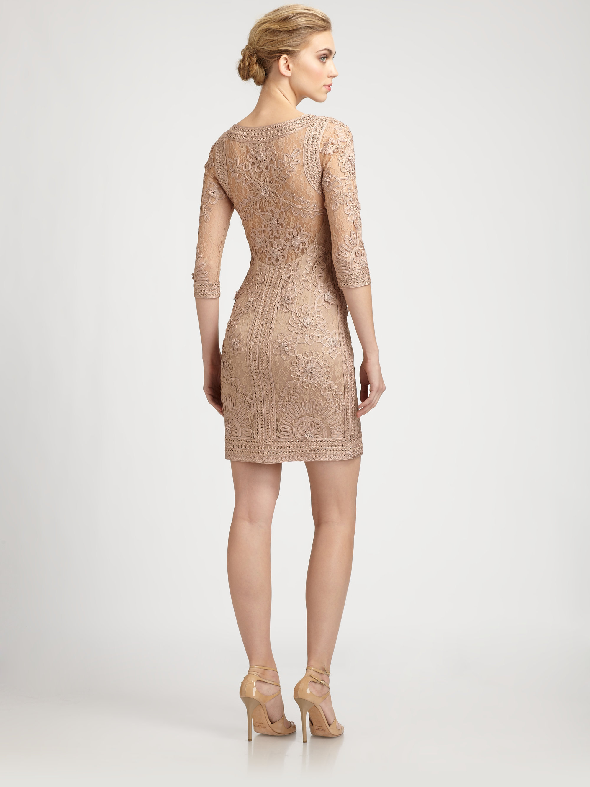 Sue wong embroidered dress in brown lyst