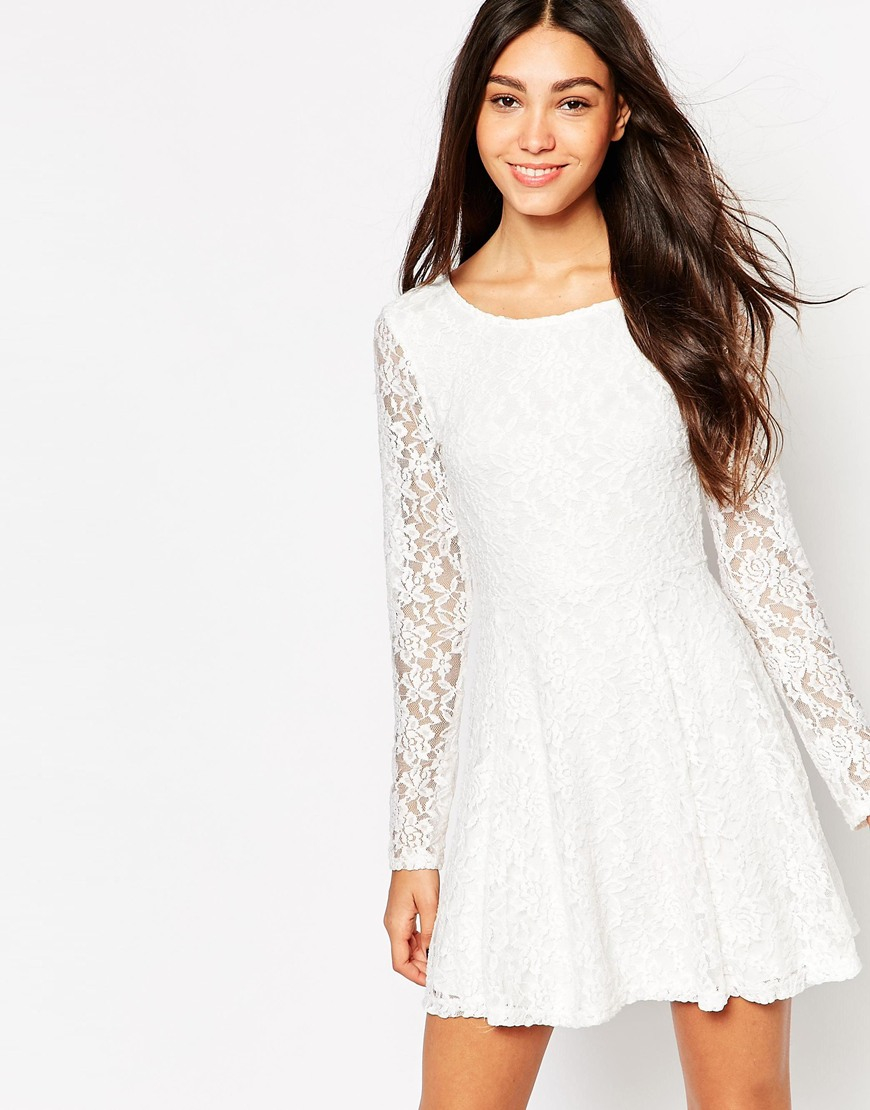 Lyst - Wal-G Lace Skater Dress With Long Sleeves in White d3bbdd1c2
