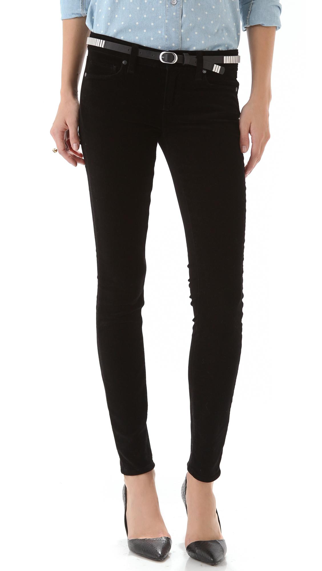 New Paige Premium Denim VERDUGO ULTRA SKINNY black velvet ...