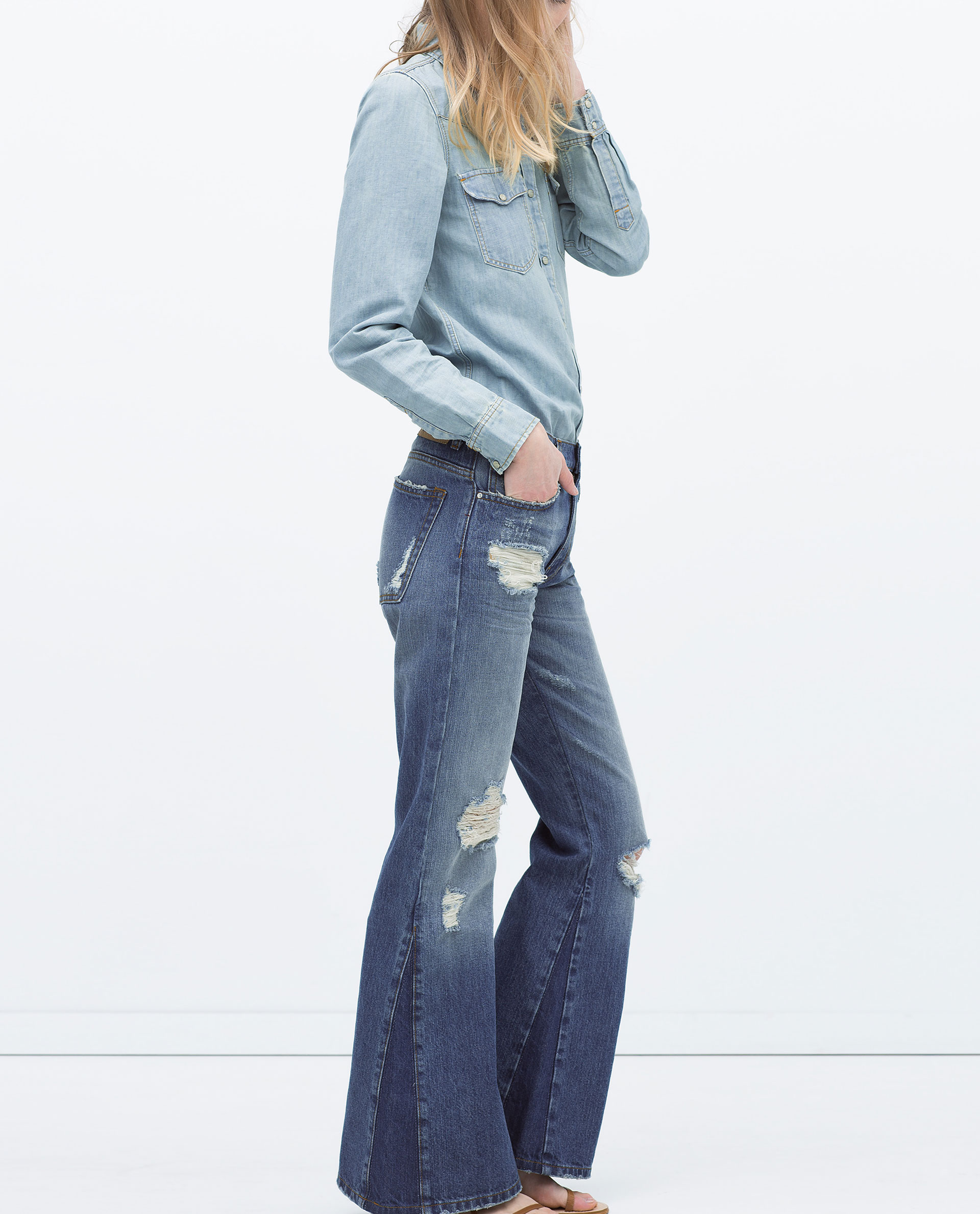 Zara Distressed Flared 70S Jeans Distressed Flared 70S Jeans in ...