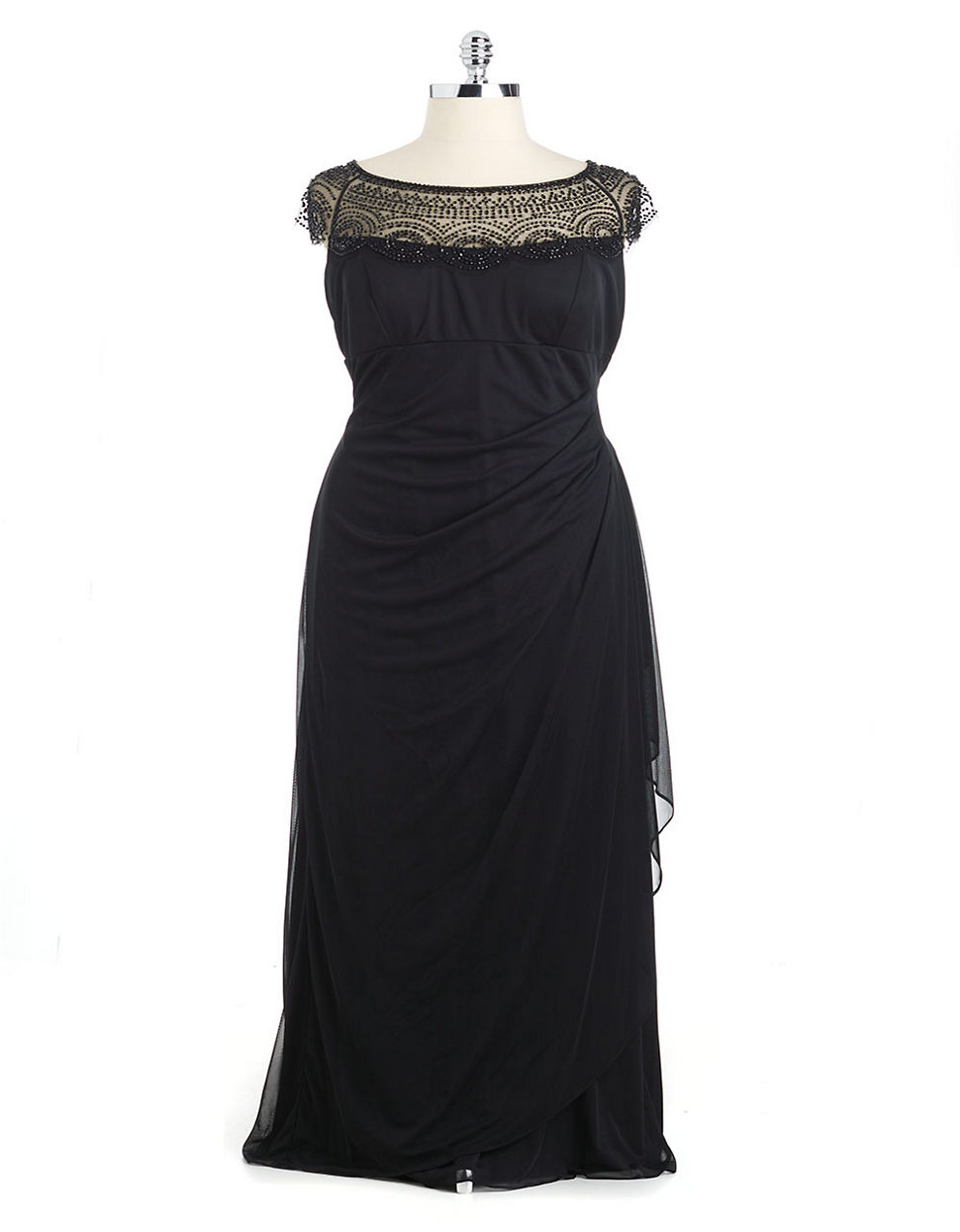 xscape beaded illusion neck ruched gown in black lyst