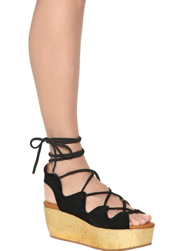 25151c148dfc Lyst - See By Chloé 70Mm Suede Lace-Up Wedge Sandals in Metallic