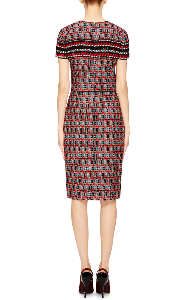 lyst oscar de la renta wool cotton tweed pencil dress in red. Black Bedroom Furniture Sets. Home Design Ideas