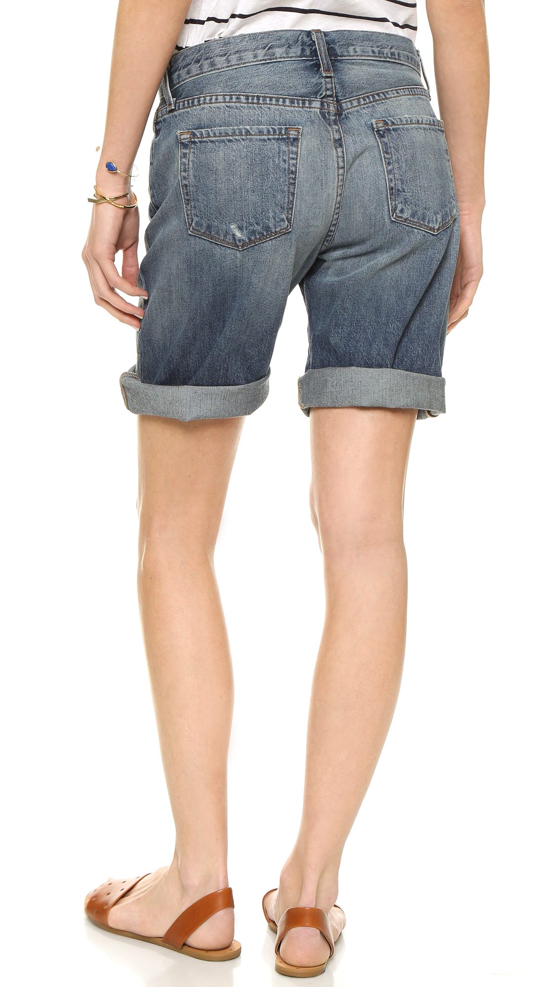 42d02fcc29 Lyst - J Brand Dani Mid Rise Relaxed Bermuda Shorts - Dispatch in Blue