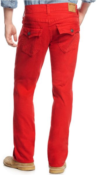 True Religion Relaxed Straight-Fit Colored Jeans in Red ...