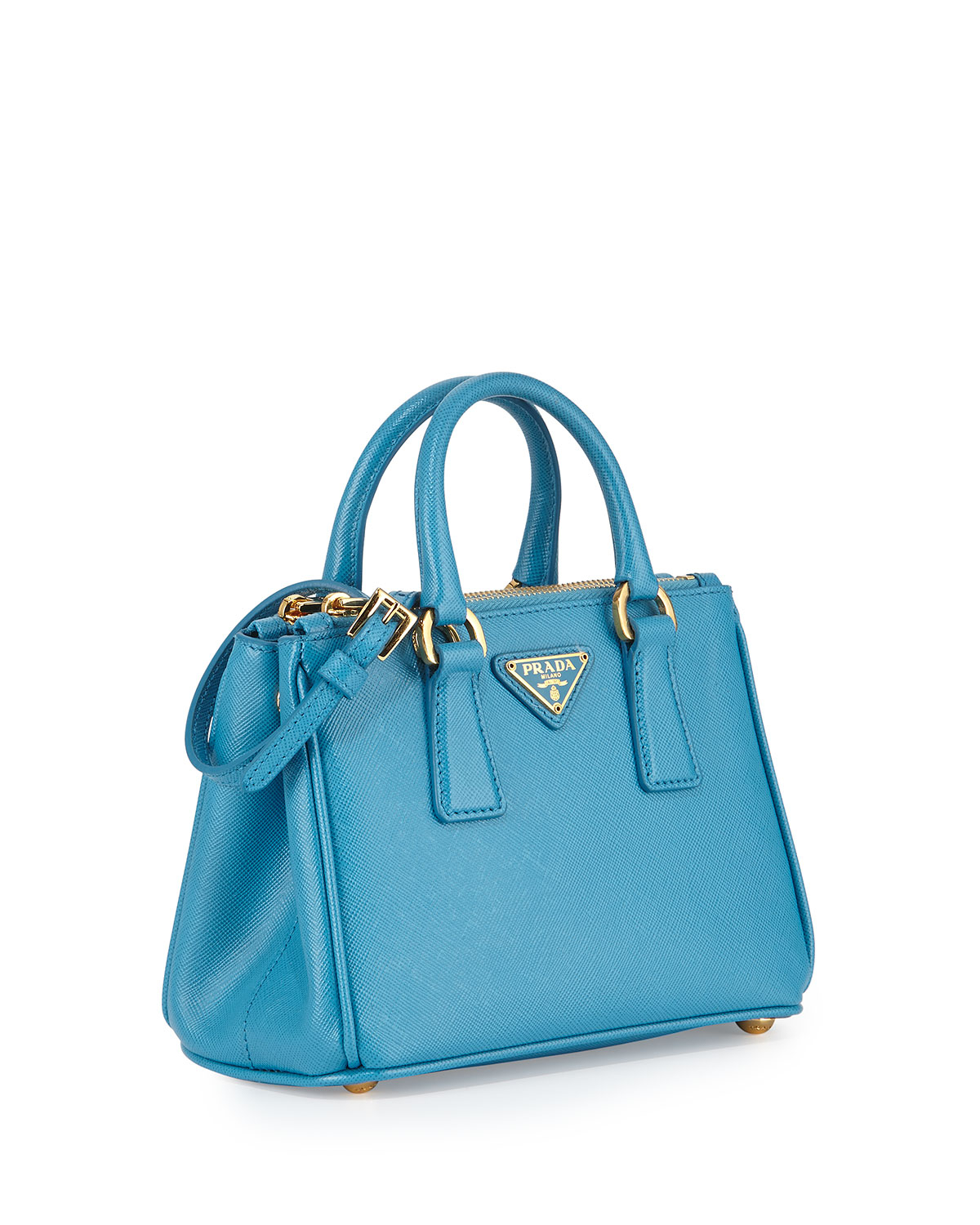 Lyst Prada Saffiano Mini Galleria Crossbody Bag In Blue