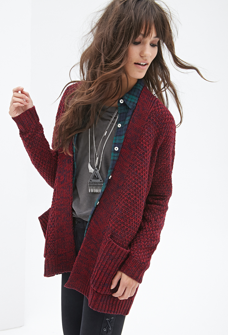Forever 21 Textured Open-front Cardigan in Purple | Lyst
