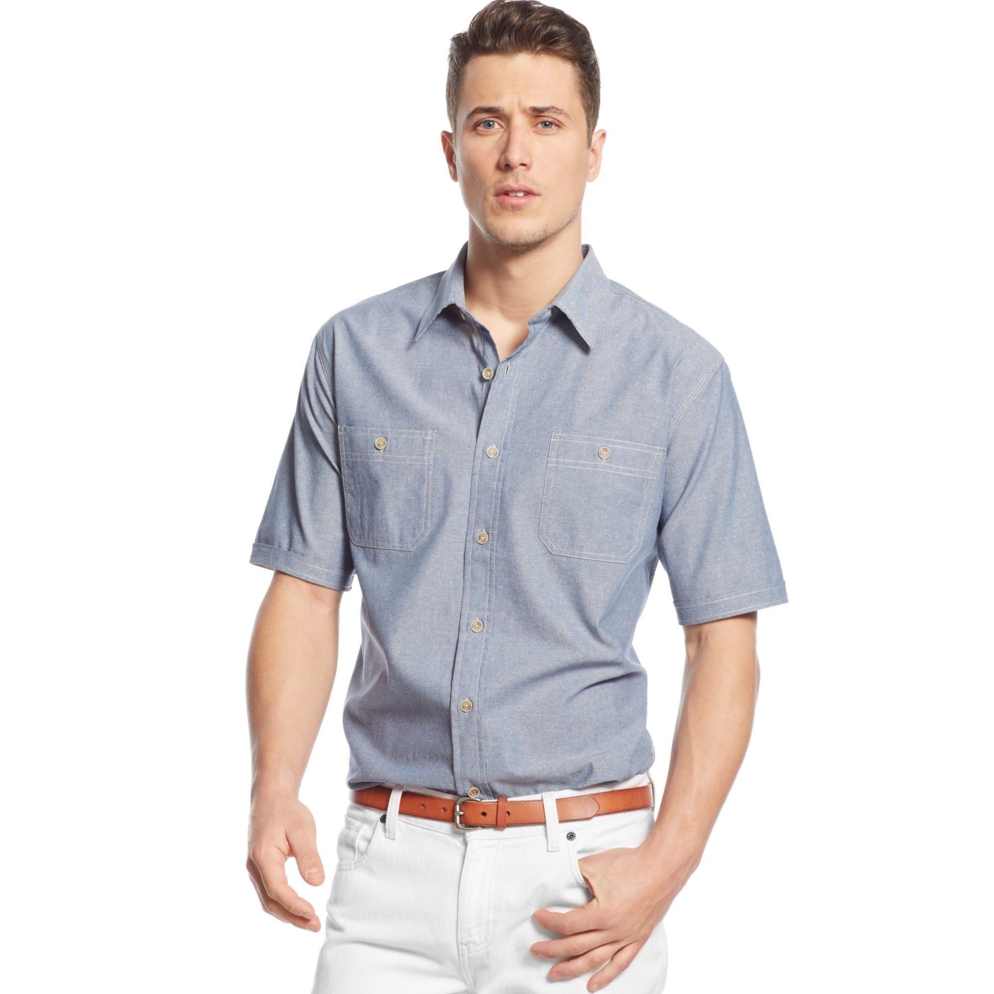 Weatherproof vintage chambray shirt in blue for men for Weatherproof vintage men s lightweight flannel shirt