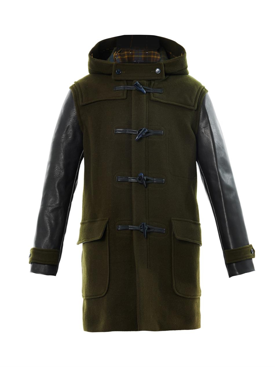 Marc by marc jacobs Paddington Leathersleeve Duffle Coat in Green ...