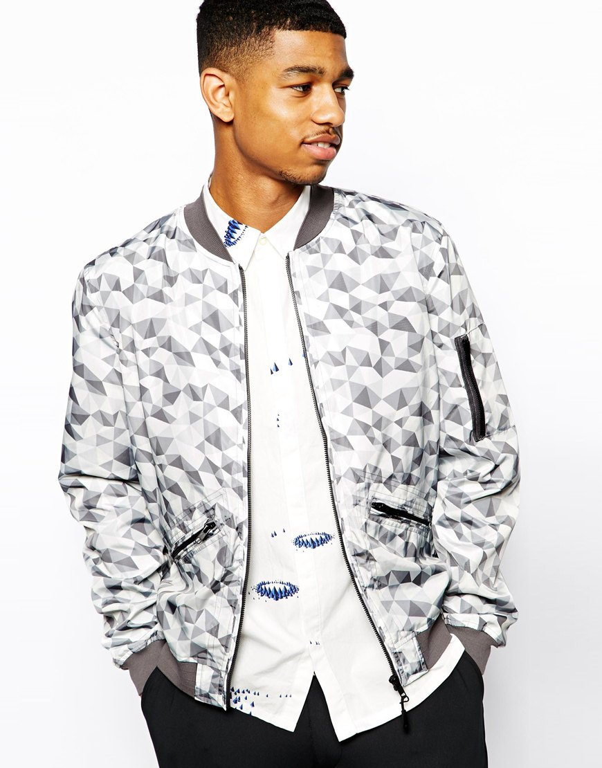 Asos Printed Bomber Jacket in Gray for Men | Lyst