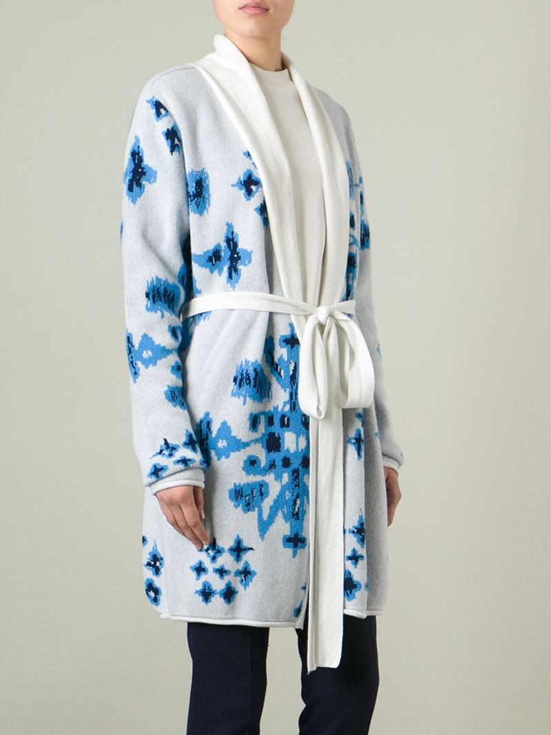 Lyst Baja East Knitted Floral Cardi Coat In White