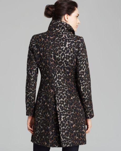 Via Spiga Leopard Print Walker Coat In Gray Leopard Lyst