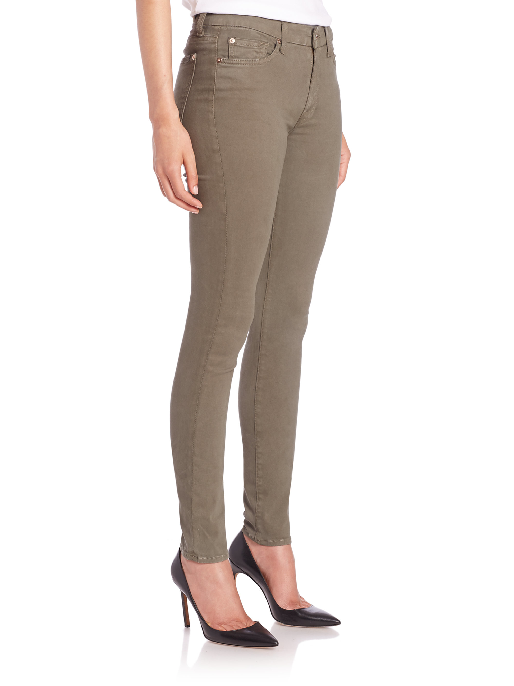 7 for all mankind Mid-rise Skinny Brushed Sateen Jeans in Natural ...
