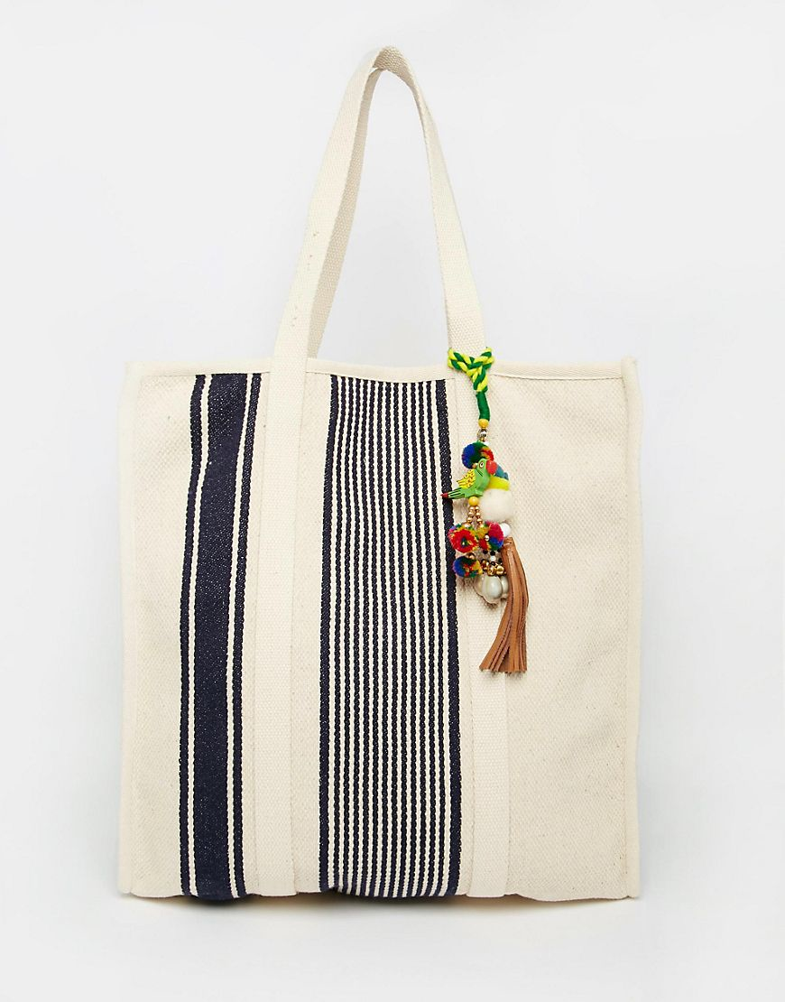 Star mela Tar Mela Canvas Beach Bag With Navy Stripe & Pom Pom ...