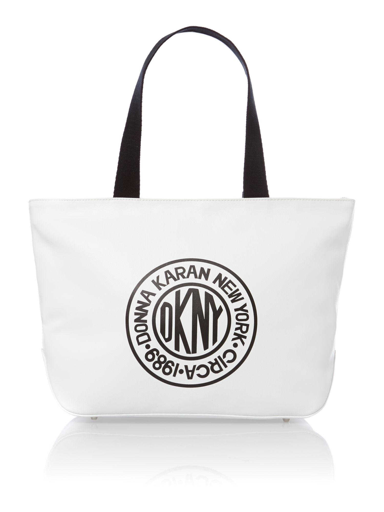 Dkny Canvas Logo White Tote Bag in White | Lyst