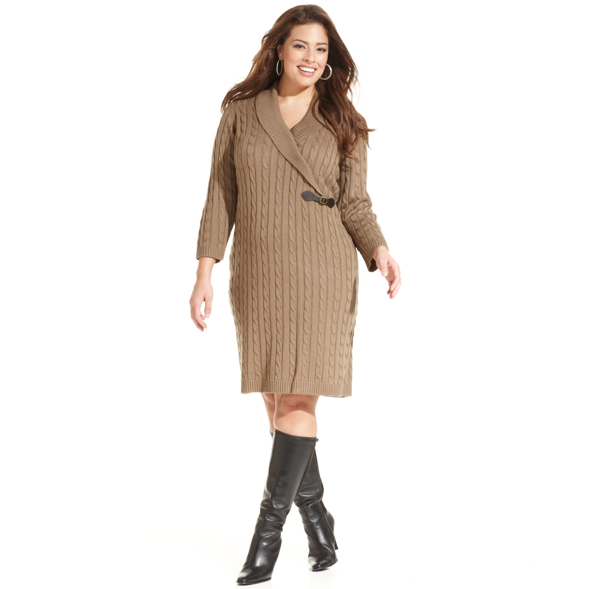 f61641b13ac Lyst - Calvin Klein Plus Size Cable Knit Sweater Dress in Natural