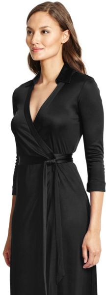 Black Dvf Wrap Dress Maxi Wrap Dress in Black