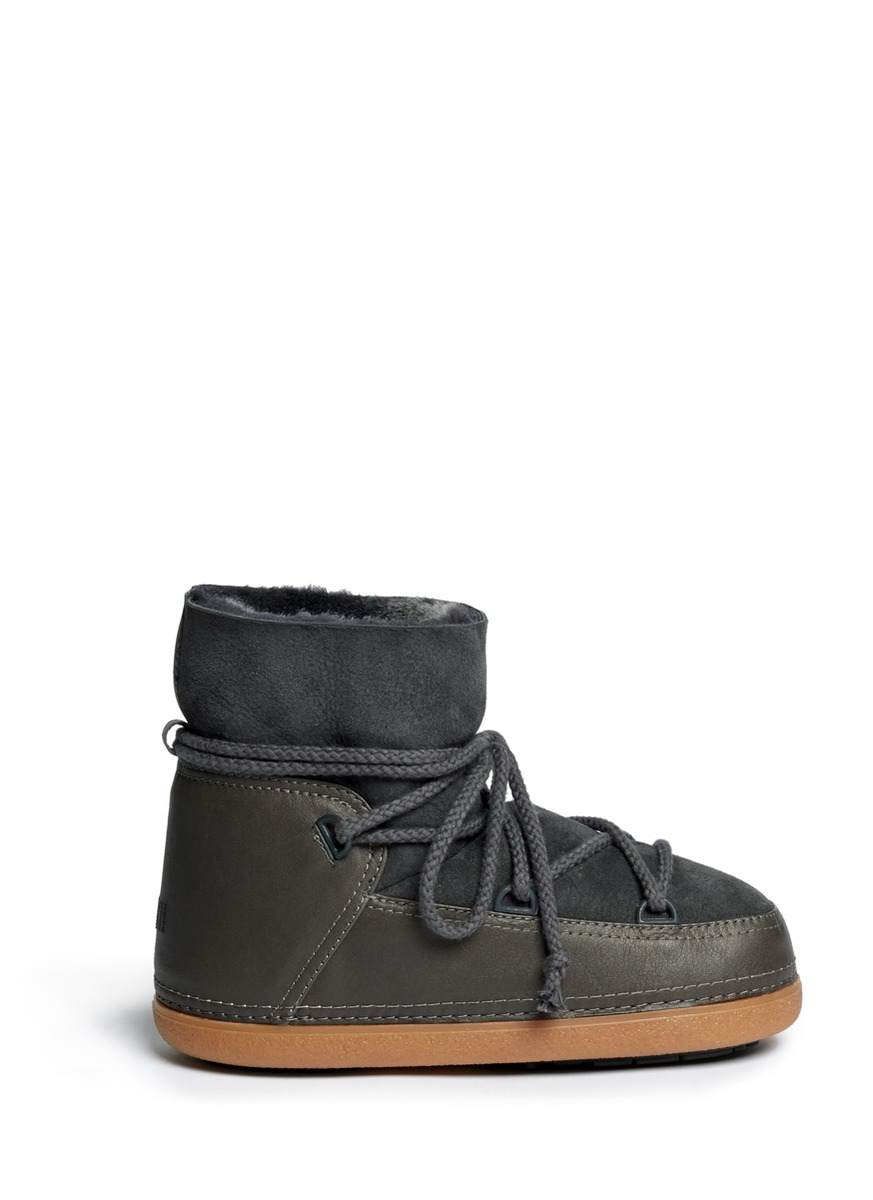 Ikkii Classic Leather Shearling Moon Boots In Gray Lyst