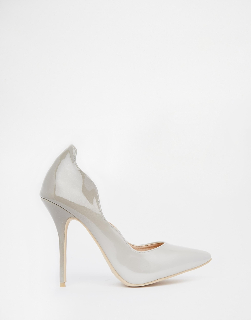 lyst ax paris x paris harper heeled court shoes in gray How Many Inches Is 10Cm Heels gallery