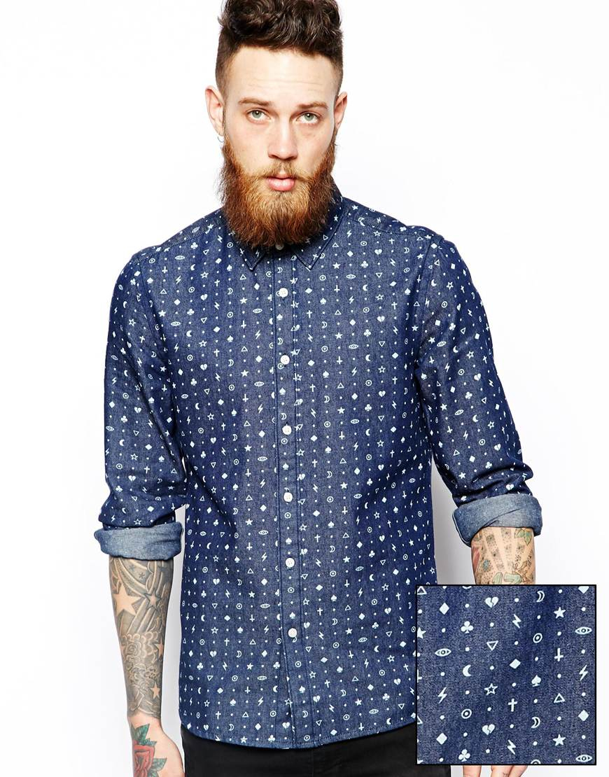 beb456d4310 Lyst - ASOS Denim Shirt In Long Sleeve With Icon Print in Blue for Men