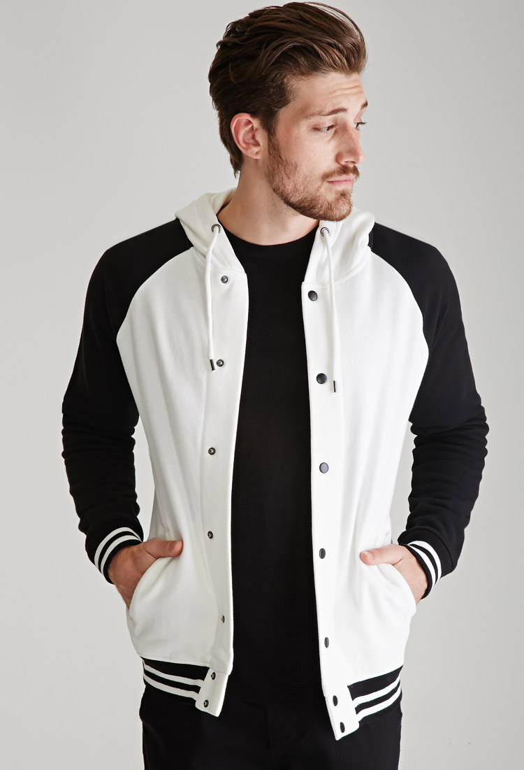 Forever 21 Hooded Varsity Jacket in White for Men