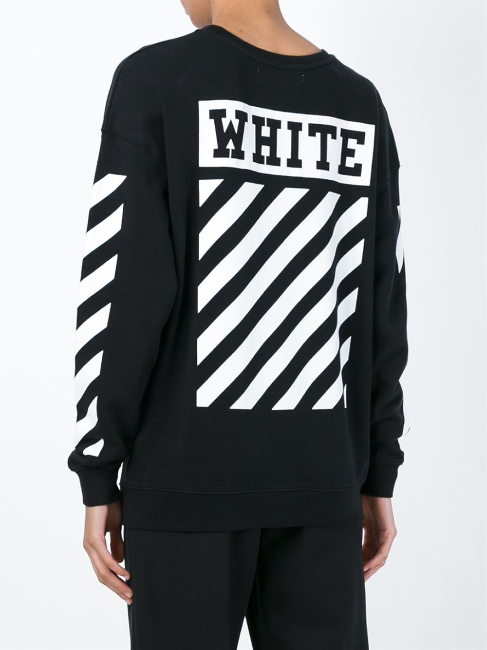 Off-white c/o virgil abloh Striped Detail Sweatshirt in Black | Lyst