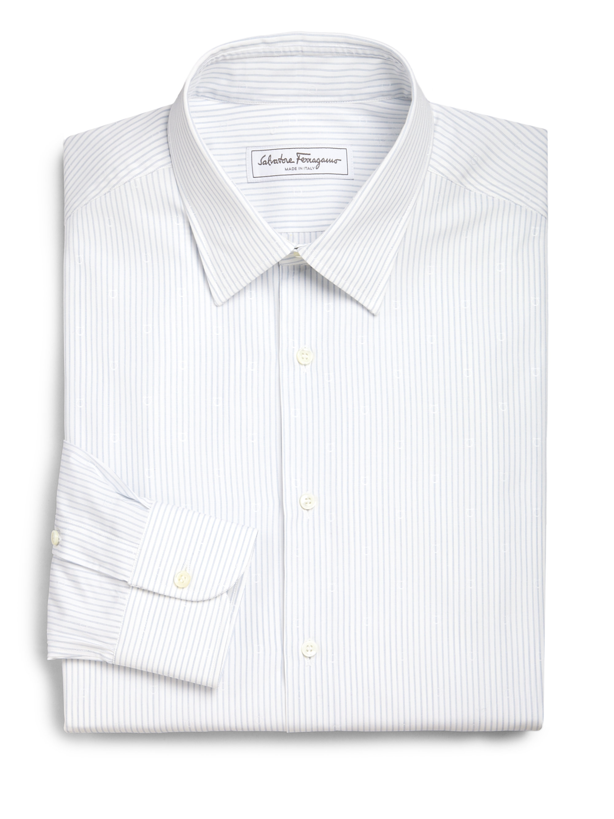 Ferragamo striped cotton dress shirt in white for men lyst for White non iron dress shirts