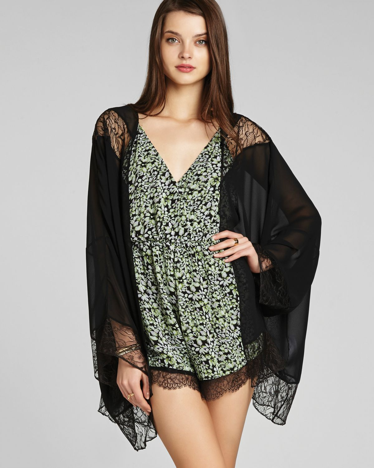 Bcbgeneration Kimono Cardigan High Low Lace in Black | Lyst