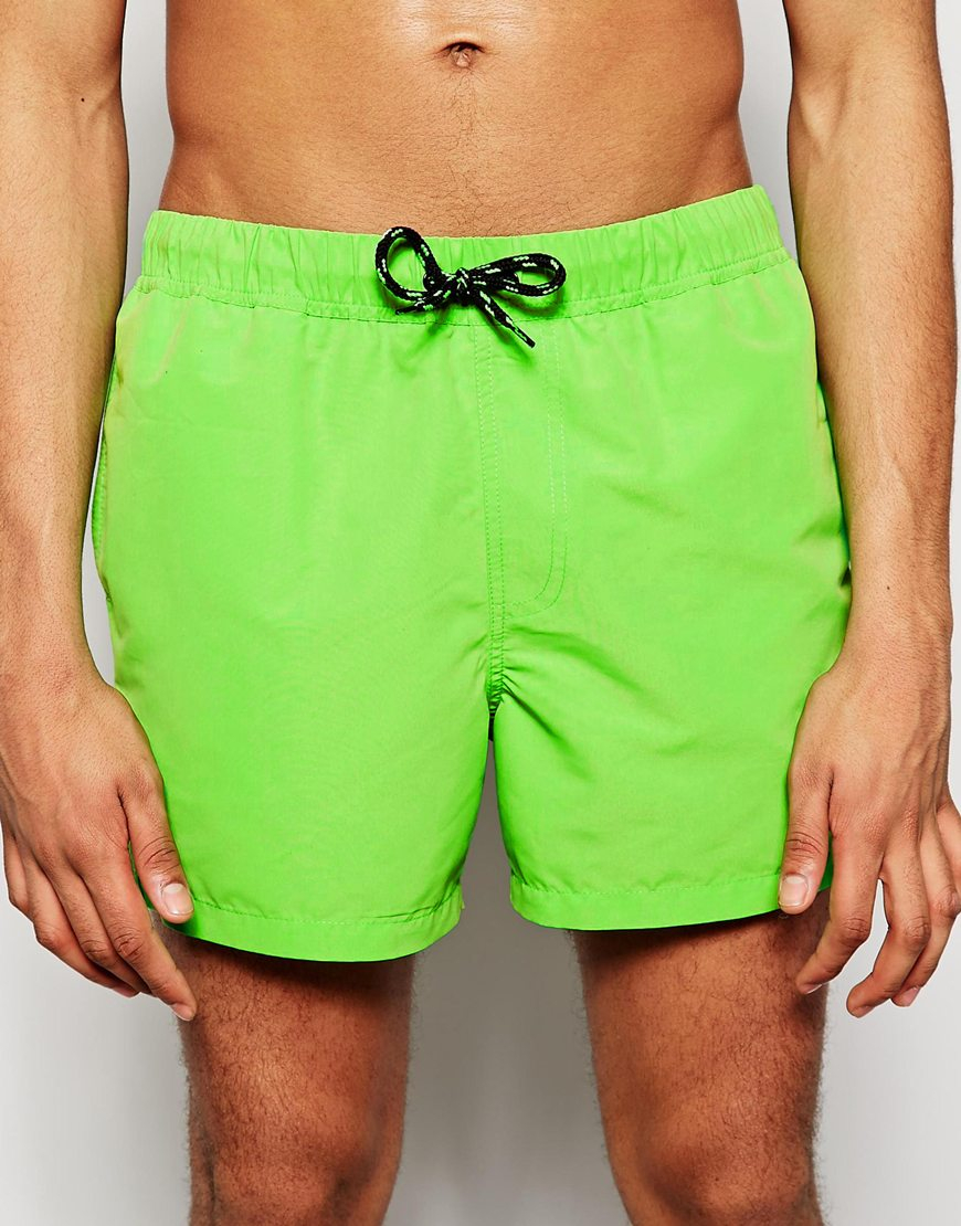 62ec9314ed ASOS Swim Shorts In Short Length in Green for Men - Lyst