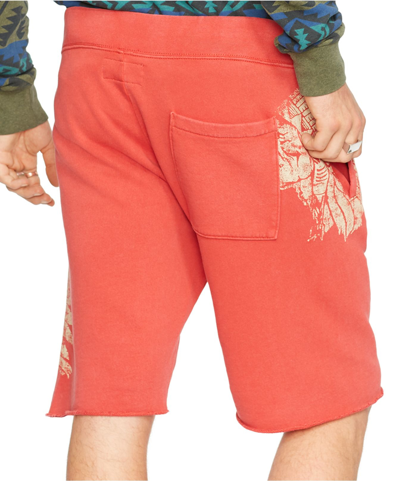 89219a6de9c Denim & Supply Ralph Lauren French Terry Graphic Shorts in Red for Men -  Lyst
