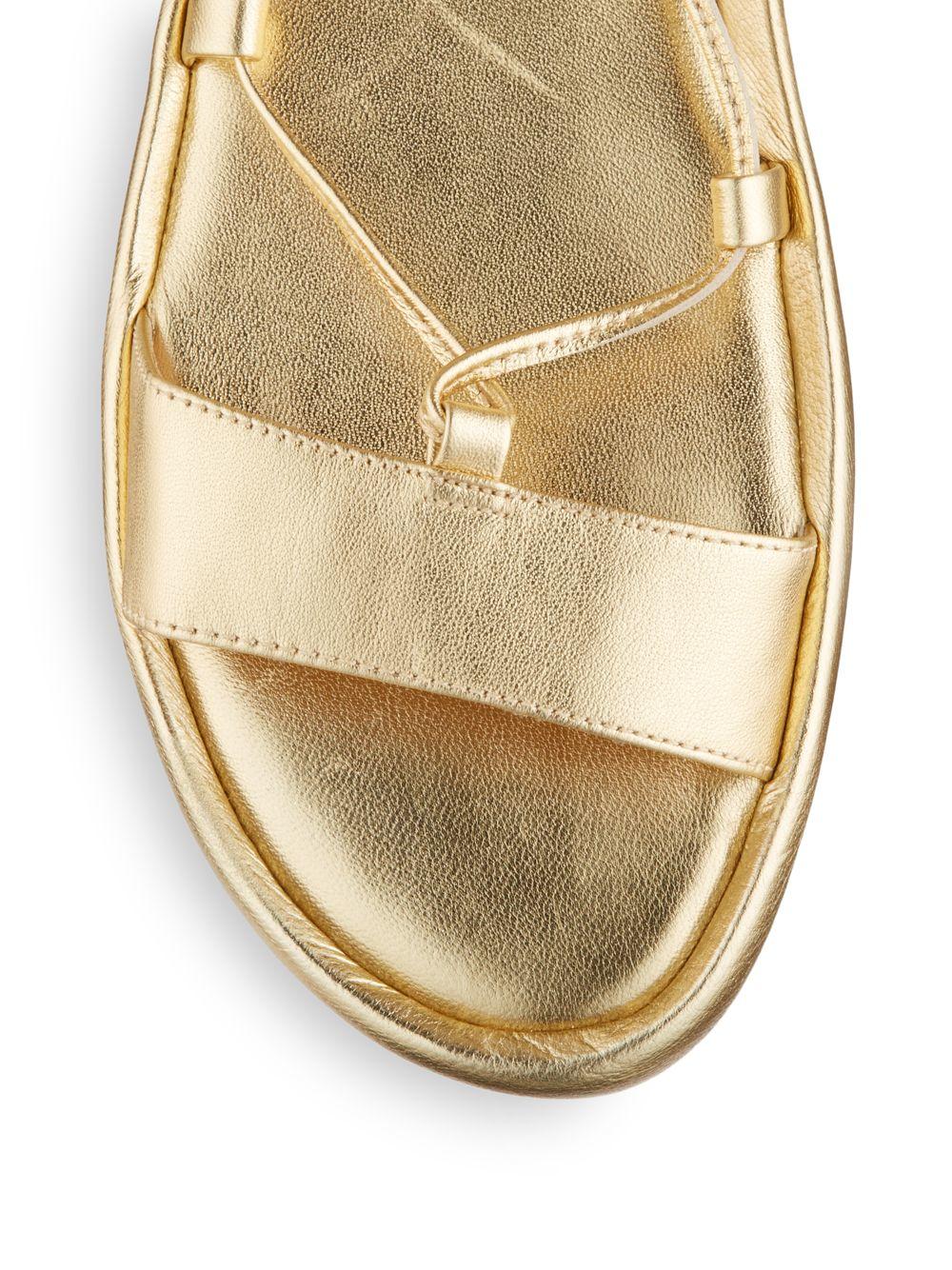 39d29c7f22419 Lyst - Diane von Furstenberg Susie Lace-up Flat Metallic Leather ...